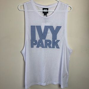 NWT Ivy Park Size M White Wide Arm Tank Top